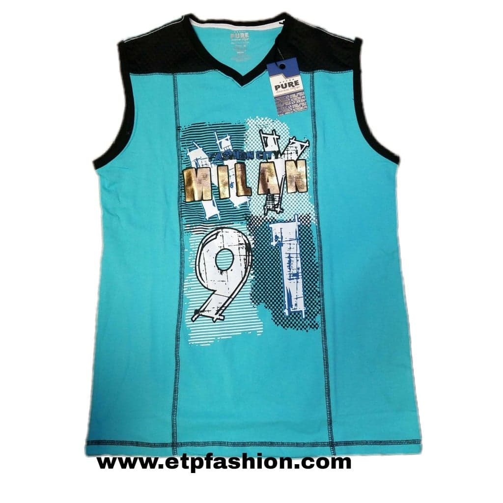 T Shirt For Men Aqua Color With Black Design On The Front With Gold